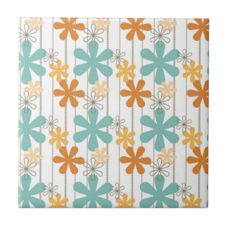 Spaß-Retro Blumenmuster-orange blaue Wand-Blumen Kleine Quadratische Fliese