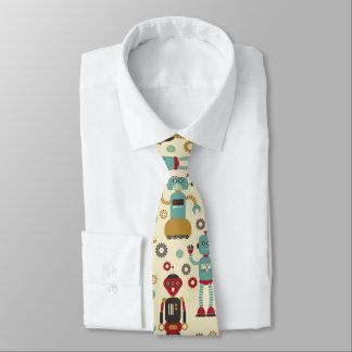 Spaß-Retro Roboter-illustriertes Muster (Creme) Krawatte