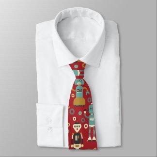 Spaß-Retro Roboter-illustriertes Muster (rot) Individuelle Krawatte