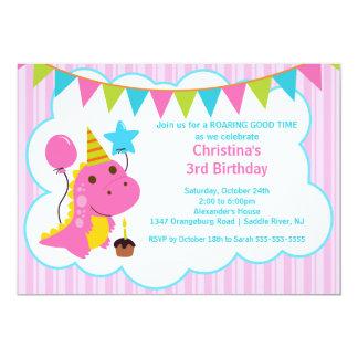 Spaß-rosa Dinosaurier-Geburtstags-Party Einladung