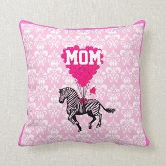 Spaß rosa Herz und Zebra für Mamma Kissen