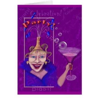 Spaß u. festliche lila Party Einladung
