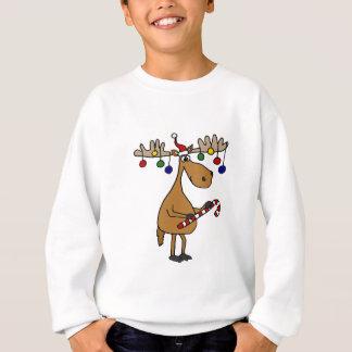 Spaß-Weihnachtselche mit Zuckerstange und Sweatshirt
