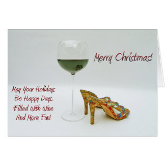 Spaß-Wein-und Schuh-Weihnachtsgruß-Karte! Karte