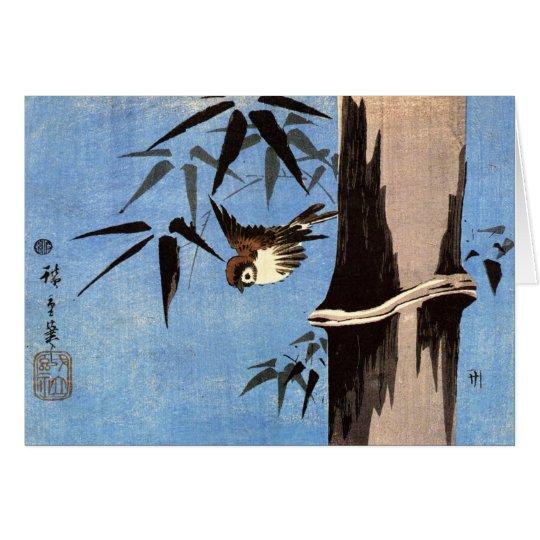 Spatz und Bambus, Ando Hiroshige Grußkarte