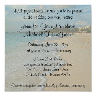 Spezielle romantische Strand-Hochzeit Quadratische 13,3 Cm Einladungskarte