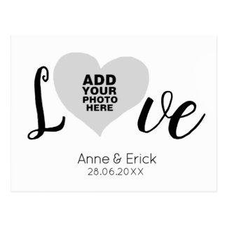spezieller Foto-Liebe-Herzrahmen mit Namen Postkarte