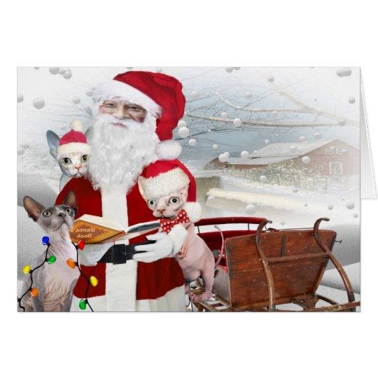 Sphynx Kätzchen-Weihnachten mit Sankt Karte