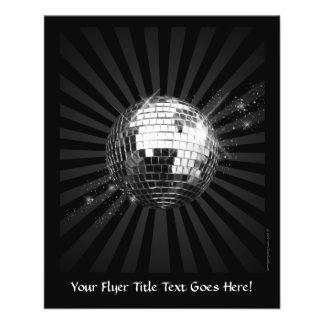 Spiegel-Disco-Ball auf Schwarzem 11,4 X 14,2 Cm Flyer