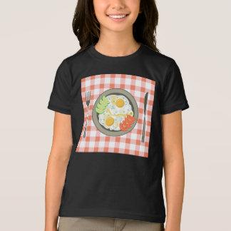 Spiegeleier auf einem Platten-Mädchen-T - Shirt