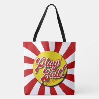 Spiel-Ball! Rote u. weiße Softball-Tasche Tasche