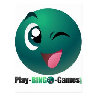 Spiel-Bingo-Spiel-Logo u. Maskottchen Postkarte