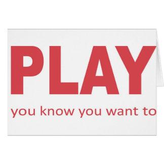 Spiel - Sie wissen, dass Sie zu wollen Karte