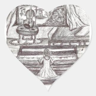 Spielen des Klaviers an einem regnerischen Tag Herz-Aufkleber