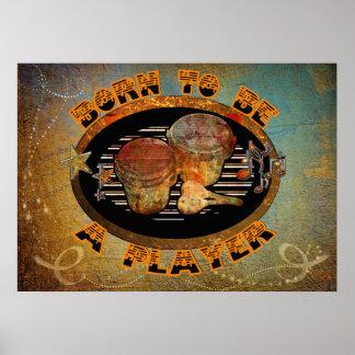 Spieler-Bongo-Trommeln ID281 Poster