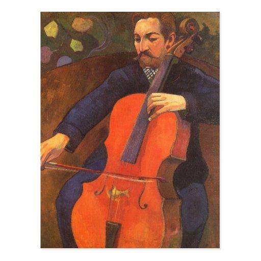 Spieler Schneklud Porträt, Gauguin, Vintage Kunst Postkarte