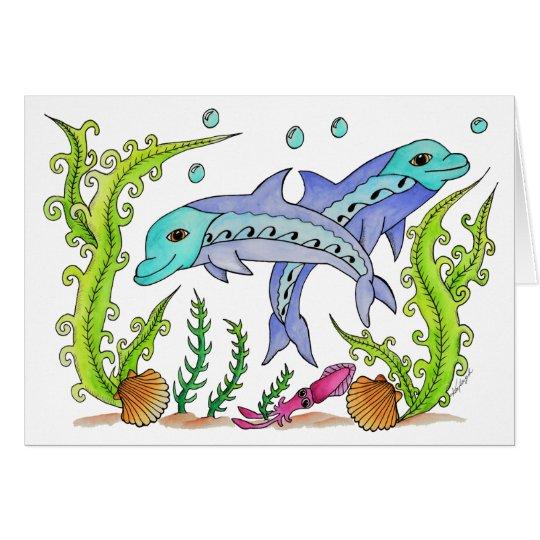 Spielerische Delphine Grußkarte