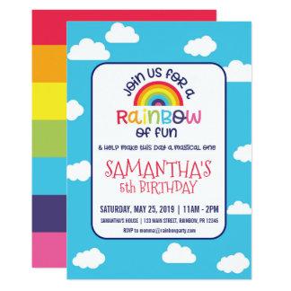 Spielerische Regenbogen-Geburtstags-Einladung Karte