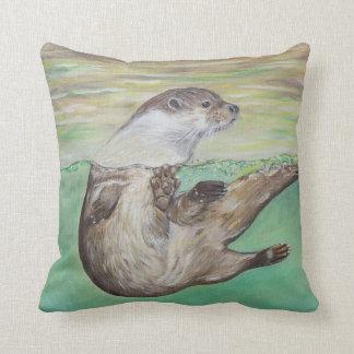 Spielerischer Fluss-Otter Kissen