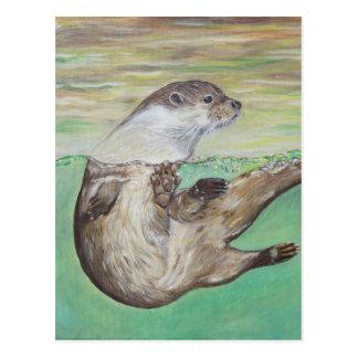 Spielerischer Fluss-Otter Postkarte