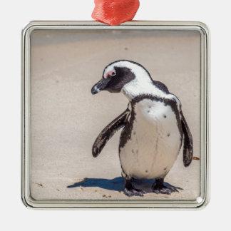 Spielerischer Pinguin Quadratisches Silberfarbenes Ornament