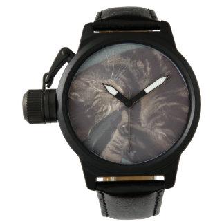 Spielerisches Dave-Kronen-Schutz-Schwarz-Leder Armbanduhr