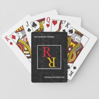 Spielermonogramm auf Schwarzem Spielkarten