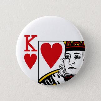 Spielkarte-Knopf-Abzeichen König-Of Hearts Runder Button 5,1 Cm
