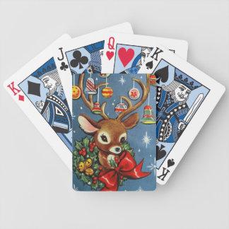 Spielkarten des Vintagen retro Weihnachtsrens