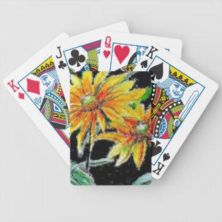 Spielkarten mit Sonnenblume-Kunst