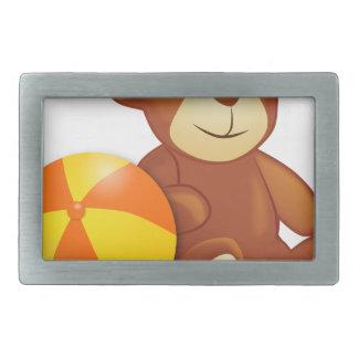 Spielzeug-Teddybär und Ball Rechteckige Gürtelschnalle