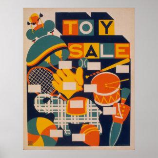 Spielzeug-Verkaufs-Grafik-Party-Vintages Plakat