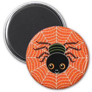 Spinne auf Netz-Orange Runder Magnet 5,7 Cm