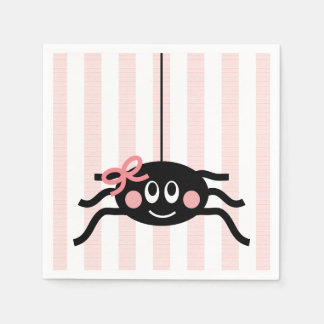 Spinne mit rosa Bogen Servietten
