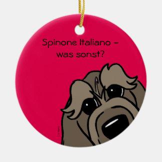 Spinone Italiano - was sonst? Rundes Keramik Ornament