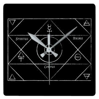 Spiritus Anima-Korpus-Uhr Quadratische Wanduhr