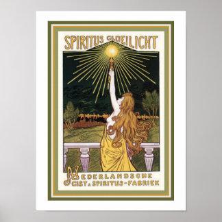 Spiritus Gloelicht Kunst Nouveau Anzeigen-Plakat Poster