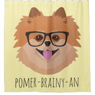 Spitz-Hund in den Nerd-Gläsern | POMER-BRAINY-AN Duschvorhang