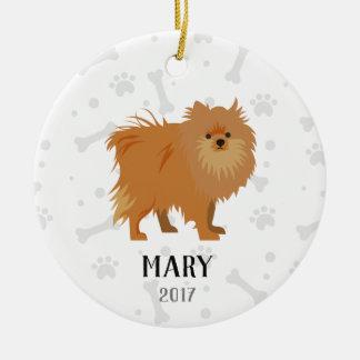Spitz-Hundepersonalisierte Weihnachtsverzierung Keramik Ornament