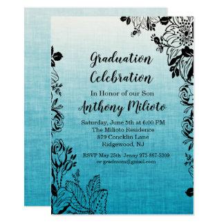 Spitze-Blumen auf blauer Ombre Abschluss-Einladung Karte