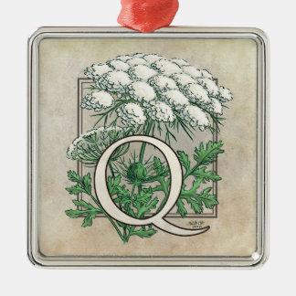 Spitze-Blumen-Monogramm der Königin-Anne Silbernes Ornament