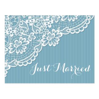 Spitze-gerade verheiratete blauer postkarte