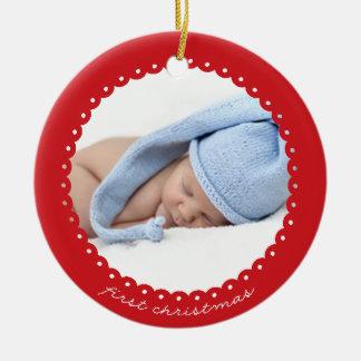 Spitze-Grenzverzierung des Babys erste Weihnachts Keramik Ornament