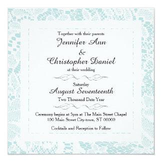 Spitze-Hochzeits-Einladungen - aquamarines blaues Quadratische 13,3 Cm Einladungskarte