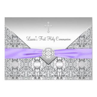 Spitze-Quermädchen-lila erste Kommunion 12,7 X 17,8 Cm Einladungskarte