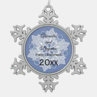 Spitze-Schneeflocke-Weihnachtsverzierung Schneeflocken Zinn-Ornament