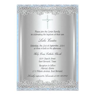 Spitze-u. Kreuz-Taufe/Taufeinladung 12,7 X 17,8 Cm Einladungskarte
