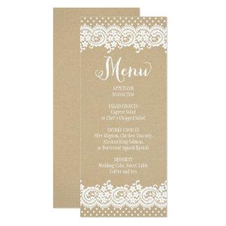 Spitze und Kraftpapier der Hochzeits-Menü-Karten-  10,2 X 23,5 Cm Einladungskarte