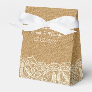 Spitze-und Leinwand-Hochzeit Geschenkschachtel