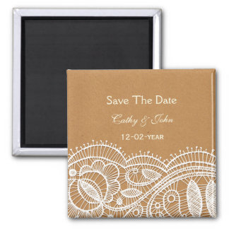 Spitze und Packpapier-Hochzeit Quadratischer Magnet
